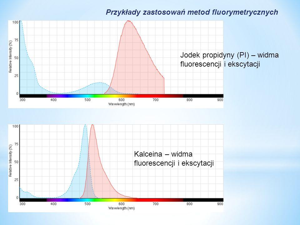 Jodek propidyny (PI) – widma fluorescencji i ekscytacji Kalceina – widma fluorescencji i ekscytacji Przykłady zastosowań metod fluorymetrycznych