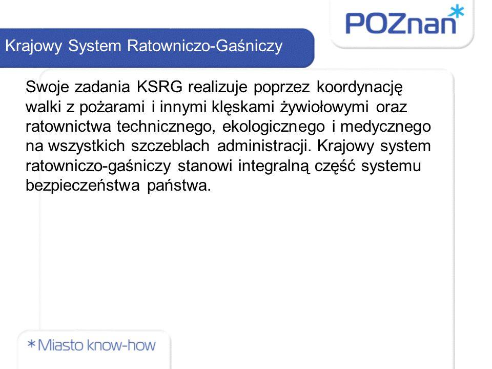 Krajowy System Ratowniczo-Gaśniczy Swoje zadania KSRG realizuje poprzez koordynację walki z pożarami i innymi klęskami żywiołowymi oraz ratownictwa technicznego, ekologicznego i medycznego na wszystkich szczeblach administracji.