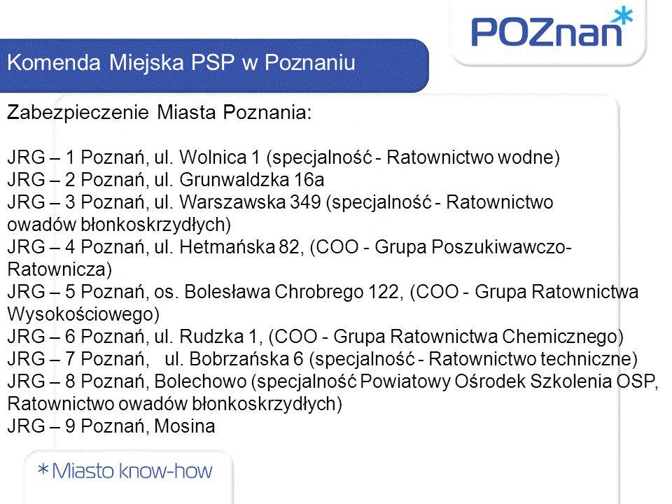 Komenda Miejska PSP w Poznaniu Zabezpieczenie Miasta Poznania: JRG – 1 Poznań, ul. Wolnica 1 (specjalność - Ratownictwo wodne) JRG – 2 Poznań, ul. Gru
