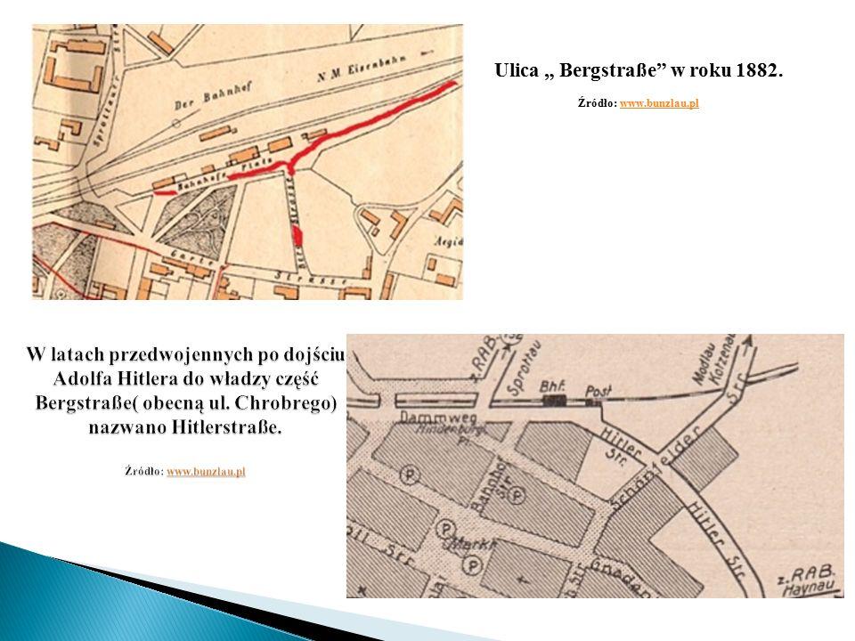 """Ulica """" Bergstraße w roku 1882. Źródło: www.bunzlau.plwww.bunzlau.pl"""