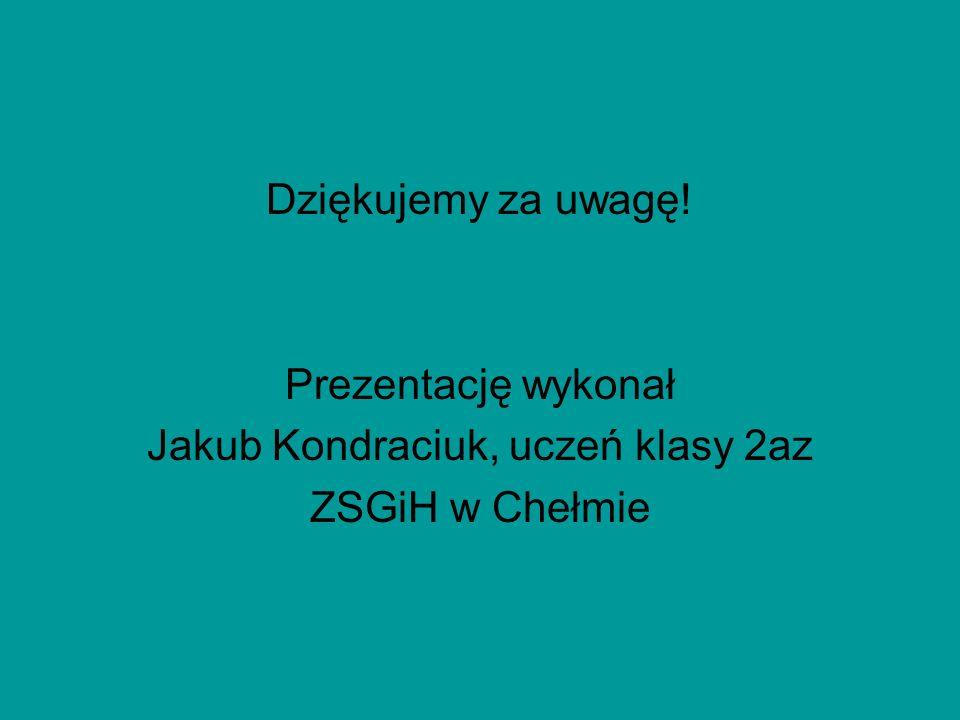 Dziękujemy za uwagę! Prezentację wykonał Jakub Kondraciuk, uczeń klasy 2az ZSGiH w Chełmie