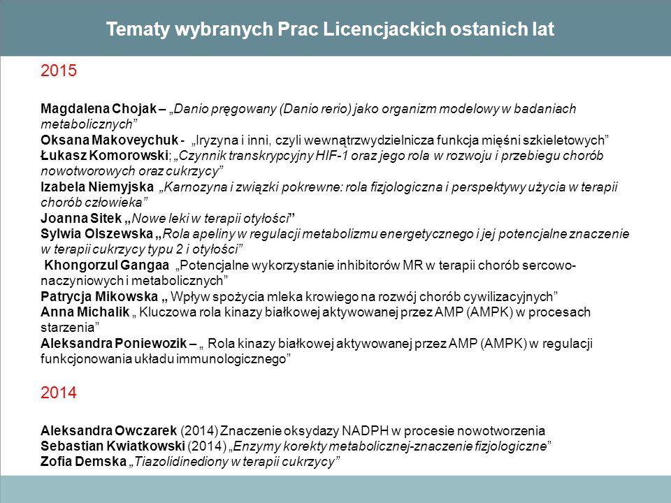 """Tematy wybranych Prac Licencjackich ostanich lat 2015 Magdalena Chojak – """"Danio pręgowany (Danio rerio) jako organizm modelowy w badaniach metaboliczn"""