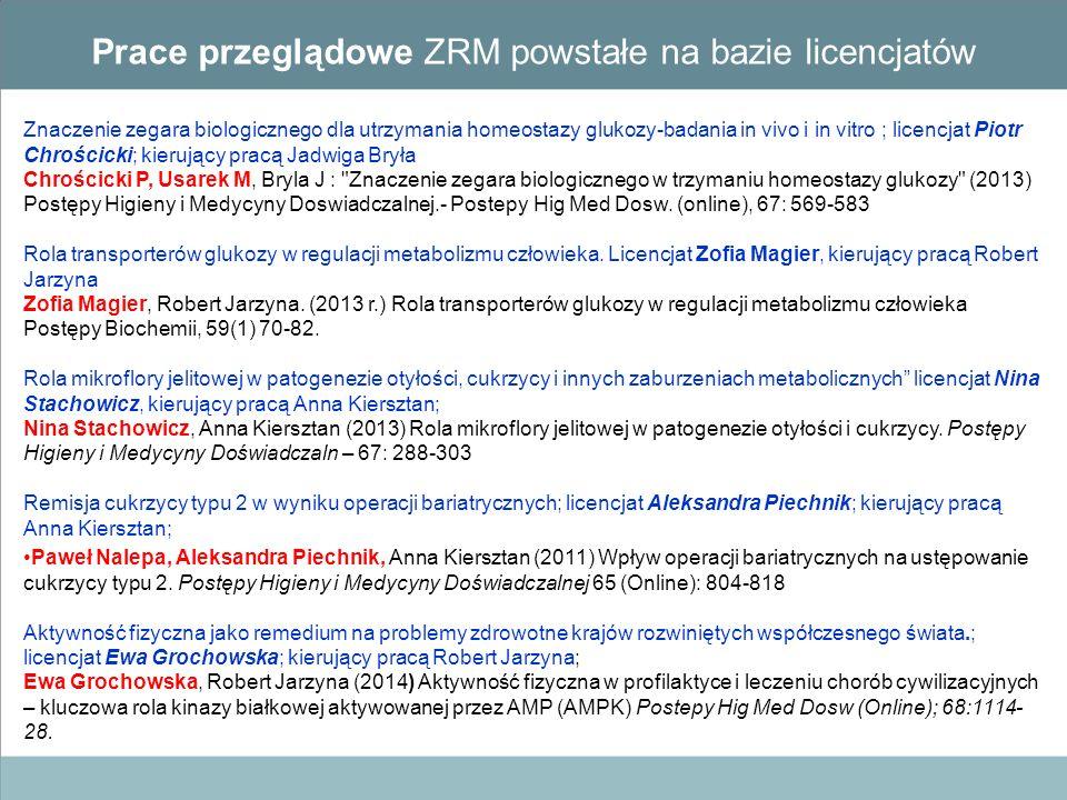 Znaczenie zegara biologicznego dla utrzymania homeostazy glukozy-badania in vivo i in vitro ; licencjat Piotr Chrościcki; kierujący pracą Jadwiga Brył