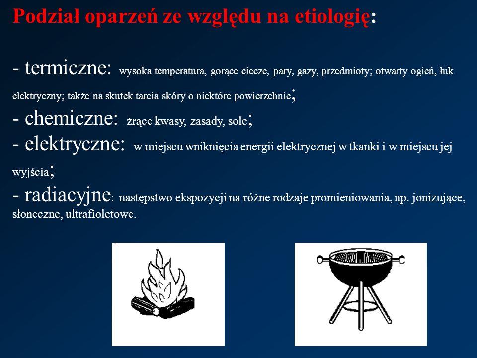Podział oparzeń ze względu na etiologię: - termiczne: wysoka temperatura, gorące ciecze, pary, gazy, przedmioty; otwarty ogień, łuk elektryczny; także