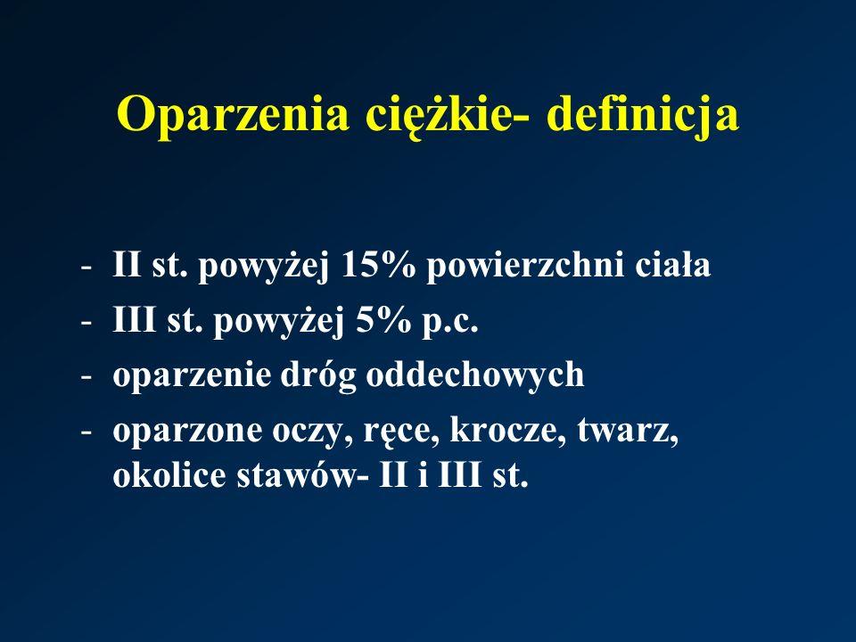 Oparzenia ciężkie- definicja -II st. powyżej 15% powierzchni ciała -III st. powyżej 5% p.c. -oparzenie dróg oddechowych -oparzone oczy, ręce, krocze,
