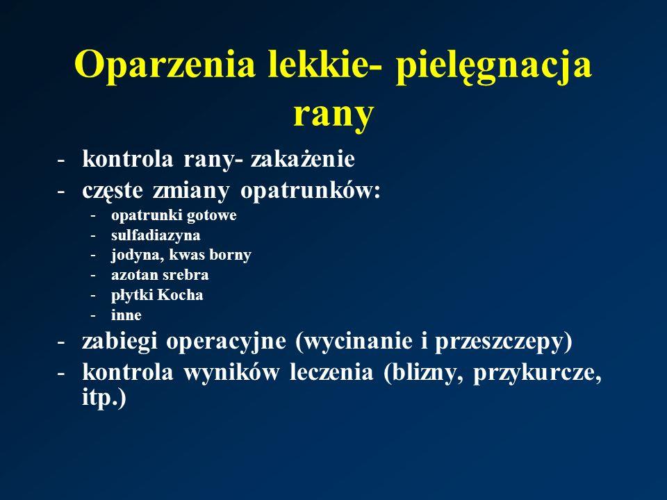 Oparzenia lekkie- pielęgnacja rany -kontrola rany- zakażenie -częste zmiany opatrunków: -opatrunki gotowe -sulfadiazyna -jodyna, kwas borny -azotan srebra -płytki Kocha -inne -zabiegi operacyjne (wycinanie i przeszczepy) -kontrola wyników leczenia (blizny, przykurcze, itp.)
