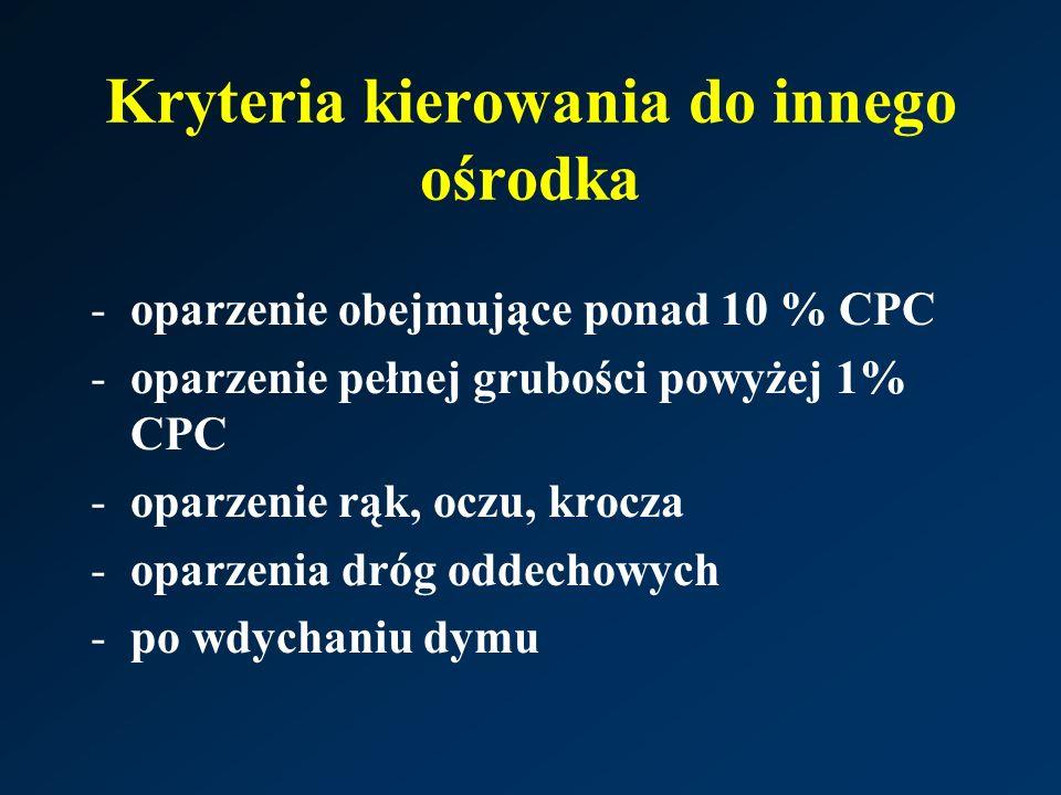 Kryteria kierowania do innego ośrodka -oparzenie obejmujące ponad 10 % CPC -oparzenie pełnej grubości powyżej 1% CPC -oparzenie rąk, oczu, krocza -oparzenia dróg oddechowych -po wdychaniu dymu