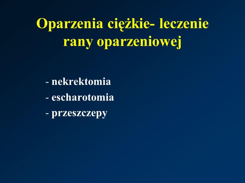 Oparzenia ciężkie- leczenie rany oparzeniowej -nekrektomia -escharotomia -przeszczepy
