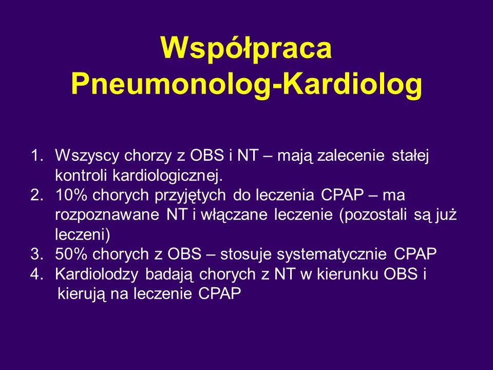 Współpraca Pneumonolog-Kardiolog 1.Wszyscy chorzy z OBS i NT – mają zalecenie stałej kontroli kardiologicznej.