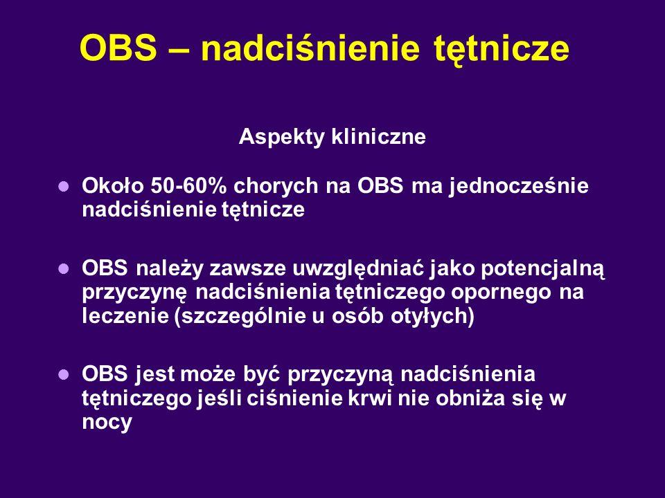 OBS – nadciśnienie tętnicze Aspekty kliniczne Około 50-60% chorych na OBS ma jednocześnie nadciśnienie tętnicze OBS należy zawsze uwzględniać jako potencjalną przyczynę nadciśnienia tętniczego opornego na leczenie (szczególnie u osób otyłych) OBS jest może być przyczyną nadciśnienia tętniczego jeśli ciśnienie krwi nie obniża się w nocy