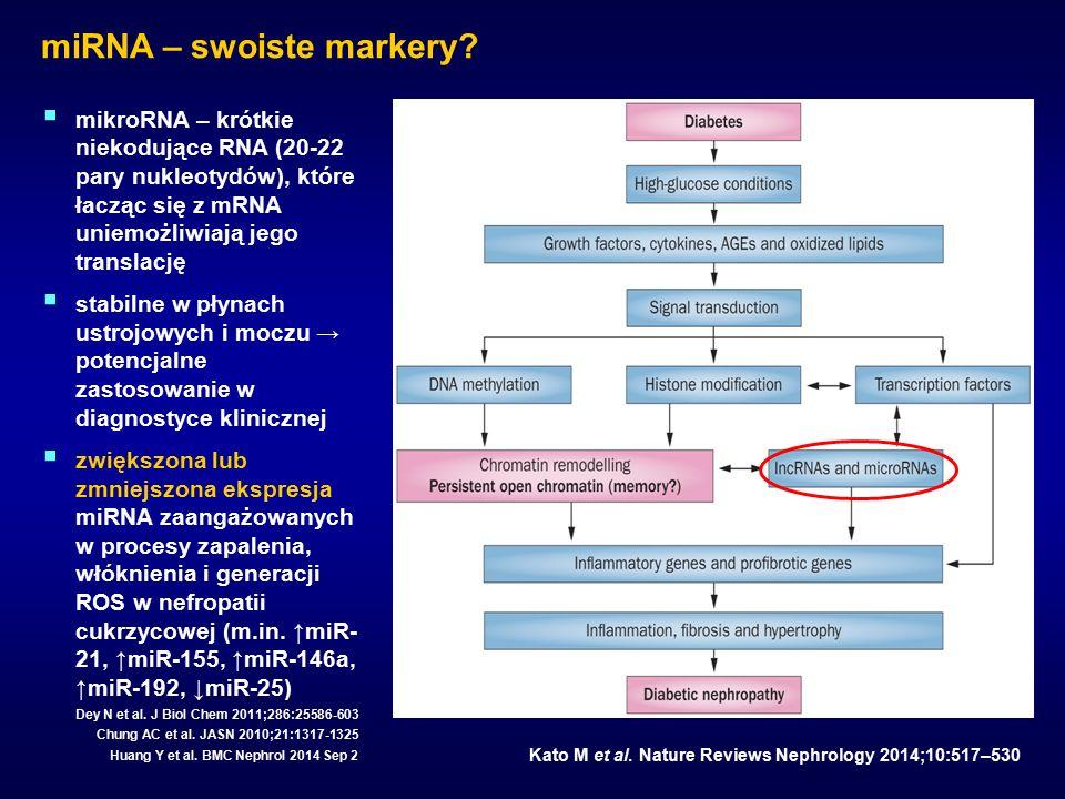 miRNA – swoiste markery? Kato M et al. Nature Reviews Nephrology 2014;10:517–530  mikroRNA – krótkie niekodujące RNA (20-22 pary nukleotydów), które