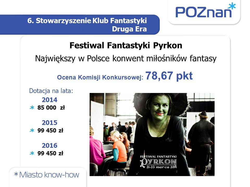6. Stowarzyszenie Klub Fantastyki Druga Era Festiwal Fantastyki Pyrkon Największy w Polsce konwent miłośników fantasy Ocena Komisji Konkursowej: 78,67
