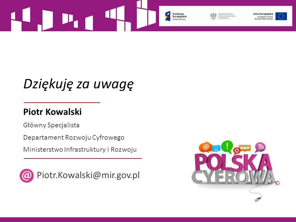 Dziękuję za uwagę Piotr Kowalski Główny Specjalista Departament Rozwoju Cyfrowego Ministerstwo Infrastruktury i Rozwoju Piotr.Kowalski@mir.gov.pl