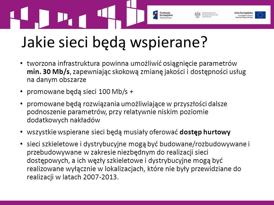 Jakie sieci będą wspierane. tworzona infrastruktura powinna umożliwić osiągnięcie parametrów min.