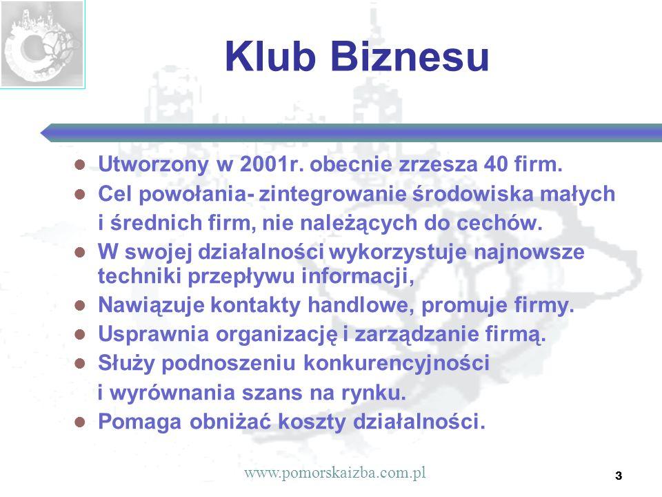 3 Klub Biznesu Utworzony w 2001r. obecnie zrzesza 40 firm. Cel powołania- zintegrowanie środowiska małych i średnich firm, nie należących do cechów. W