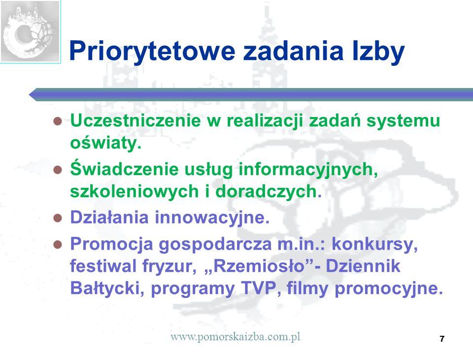 7 Priorytetowe zadania Izby Uczestniczenie w realizacji zadań systemu oświaty. Świadczenie usług informacyjnych, szkoleniowych i doradczych. Działania