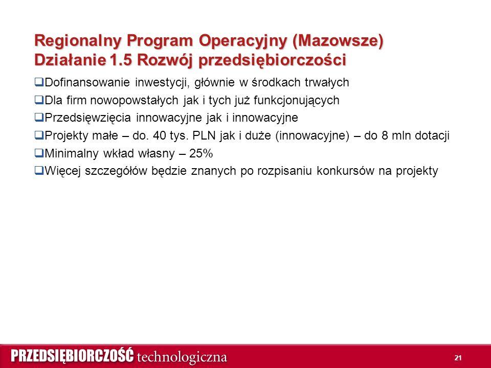 Regionalny Program Operacyjny (Mazowsze) Działanie 1.5 Rozwój przedsiębiorczości  Dofinansowanie inwestycji, głównie w środkach trwałych  Dla firm n