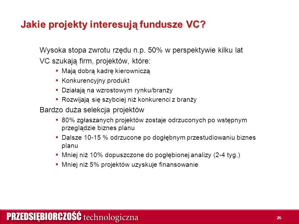 26 Jakie projekty interesują fundusze VC. Wysoka stopa zwrotu rzędu n.p.