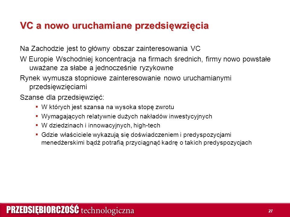 27 VC a nowo uruchamiane przedsięwzięcia Na Zachodzie jest to główny obszar zainteresowania VC W Europie Wschodniej koncentracja na firmach średnich, firmy nowo powstałe uważane za słabe a jednocześnie ryzykowne Rynek wymusza stopniowe zainteresowanie nowo uruchamianymi przedsięwzięciami Szanse dla przedsięwzięć:  W których jest szansa na wysoka stopę zwrotu  Wymagających relatywnie dużych nakładów inwestycyjnych  W dziedzinach i innowacyjnych, high-tech  Gdzie właściciele wykazują się doświadczeniem i predyspozycjami menedżerskimi bądź potrafią przyciągnąć kadrę o takich predyspozycjach