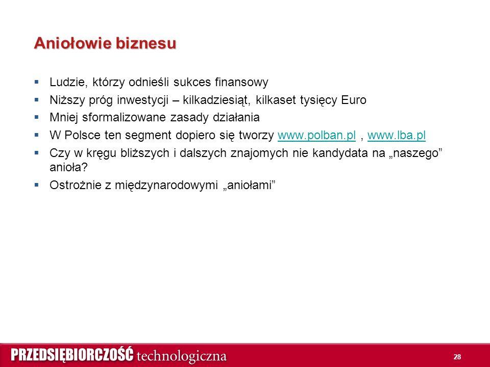 """28 Aniołowie biznesu  Ludzie, którzy odnieśli sukces finansowy  Niższy próg inwestycji – kilkadziesiąt, kilkaset tysięcy Euro  Mniej sformalizowane zasady działania  W Polsce ten segment dopiero się tworzy www.polban.pl, www.lba.plwww.polban.plwww.lba.pl  Czy w kręgu bliższych i dalszych znajomych nie kandydata na """"naszego anioła."""