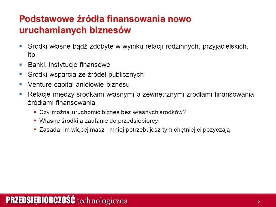 5 Podstawowe źródła finansowania nowo uruchamianych biznesów  Środki własne bądź zdobyte w wyniku relacji rodzinnych, przyjacielskich, itp.  Banki,