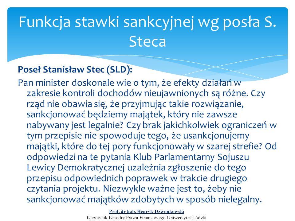 Poseł Stanisław Stec (SLD): Pan minister doskonale wie o tym, że efekty działań w zakresie kontroli dochodów nieujawnionych są różne. Czy rząd nie oba