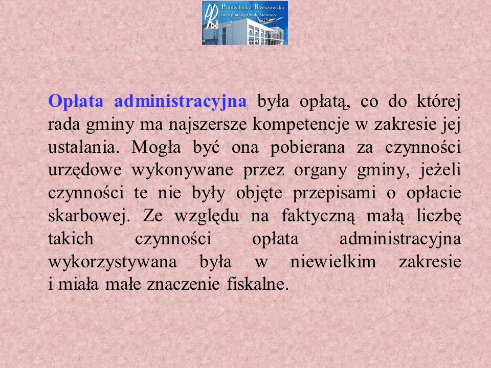 Opłata administracyjna była opłatą, co do której rada gminy ma najszersze kompetencje w zakresie jej ustalania.