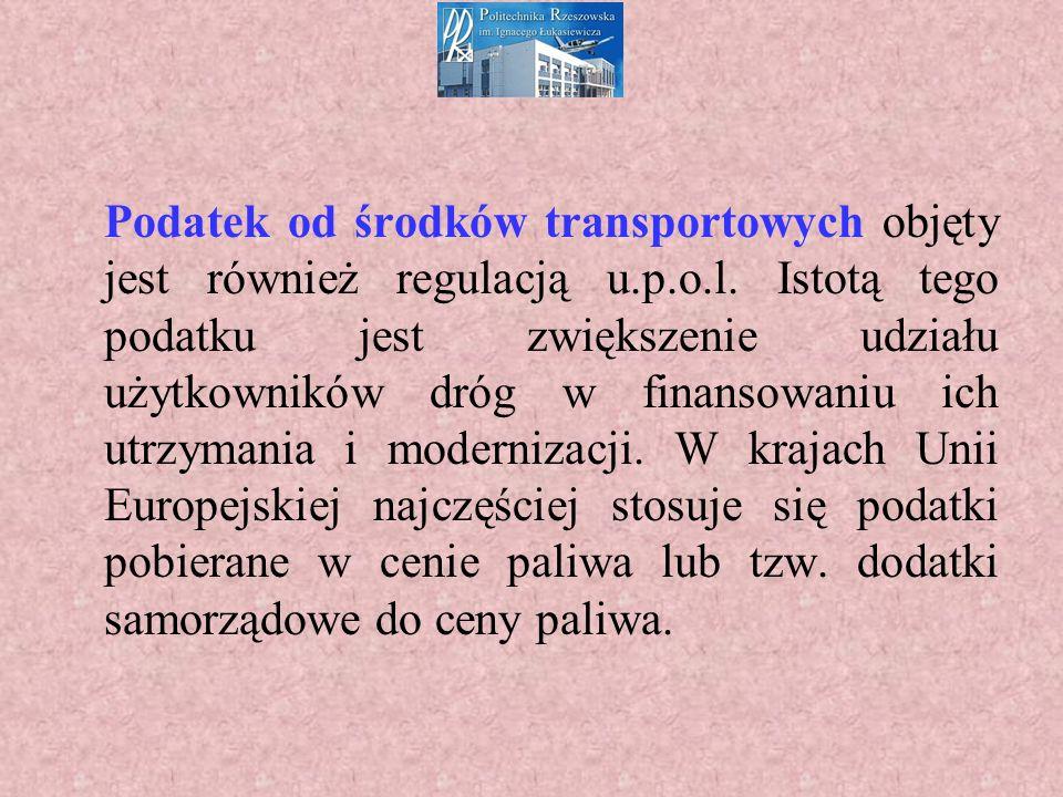 Podatek od środków transportowych objęty jest również regulacją u.p.o.l.