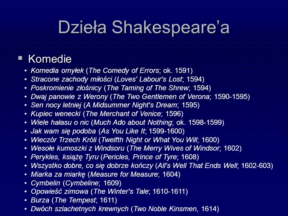 Dzieła Shakespeare'a  Komedie Komedia omyłek (The Comedy of Errors; ok.