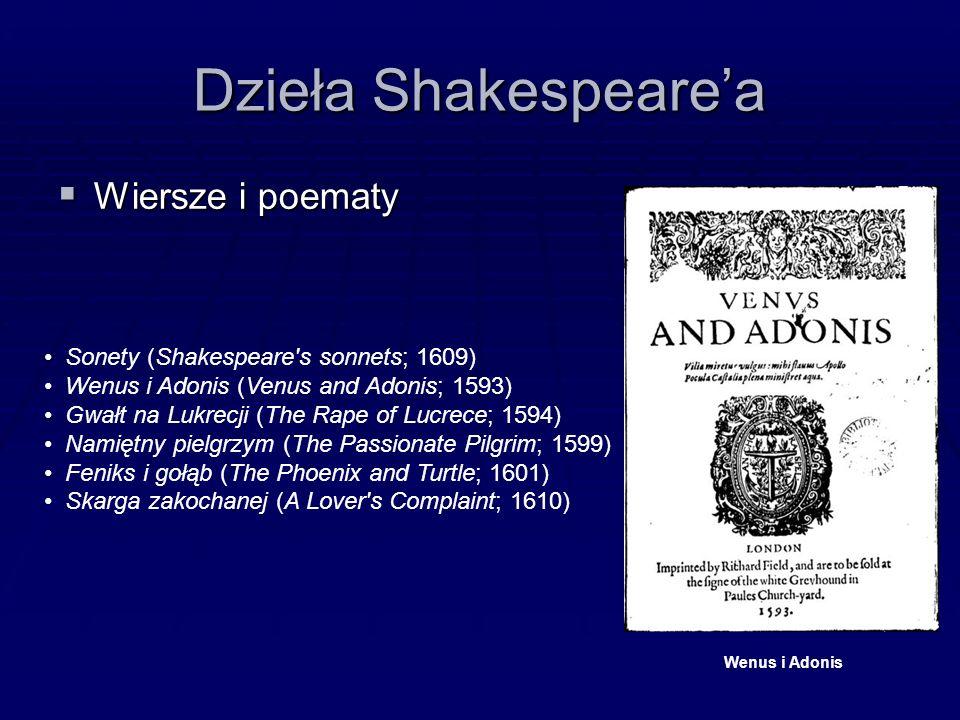 Dzieła Shakespeare'a  Wiersze i poematy Sonety (Shakespeare s sonnets; 1609) Wenus i Adonis (Venus and Adonis; 1593) Gwałt na Lukrecji (The Rape of Lucrece; 1594) Namiętny pielgrzym (The Passionate Pilgrim; 1599) Feniks i gołąb (The Phoenix and Turtle; 1601) Skarga zakochanej (A Lover s Complaint; 1610) Wenus i Adonis