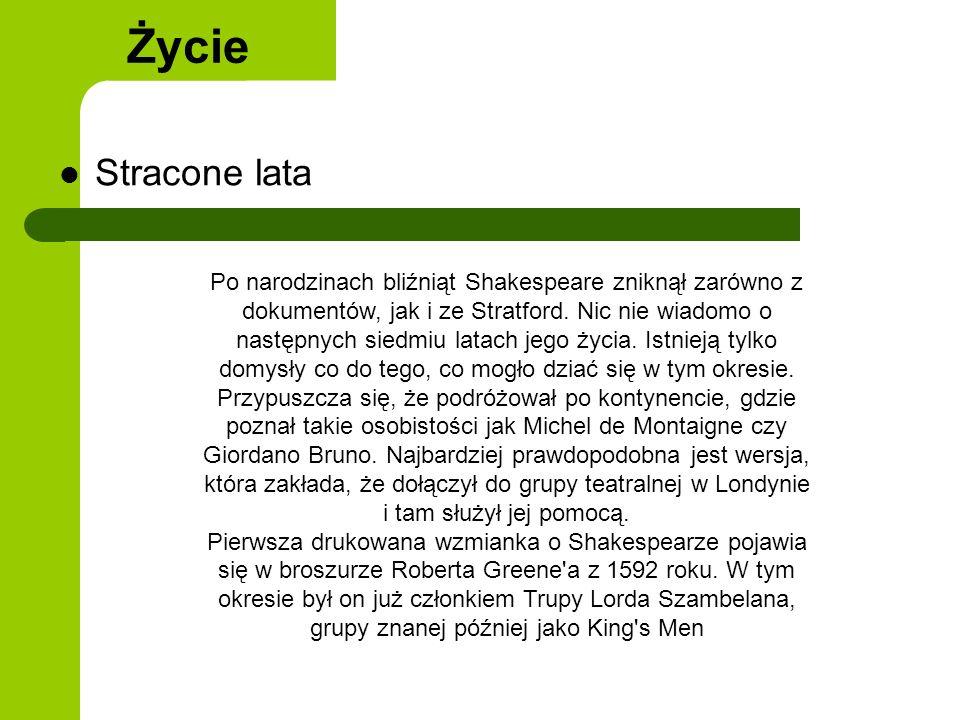 Praca twórcza Życie W 1598 roku po raz pierwszy wziął udział w przedstawieniu; także wtedy jego nazwisko zaczęło pojawiać się w charakterze autora sztuk.