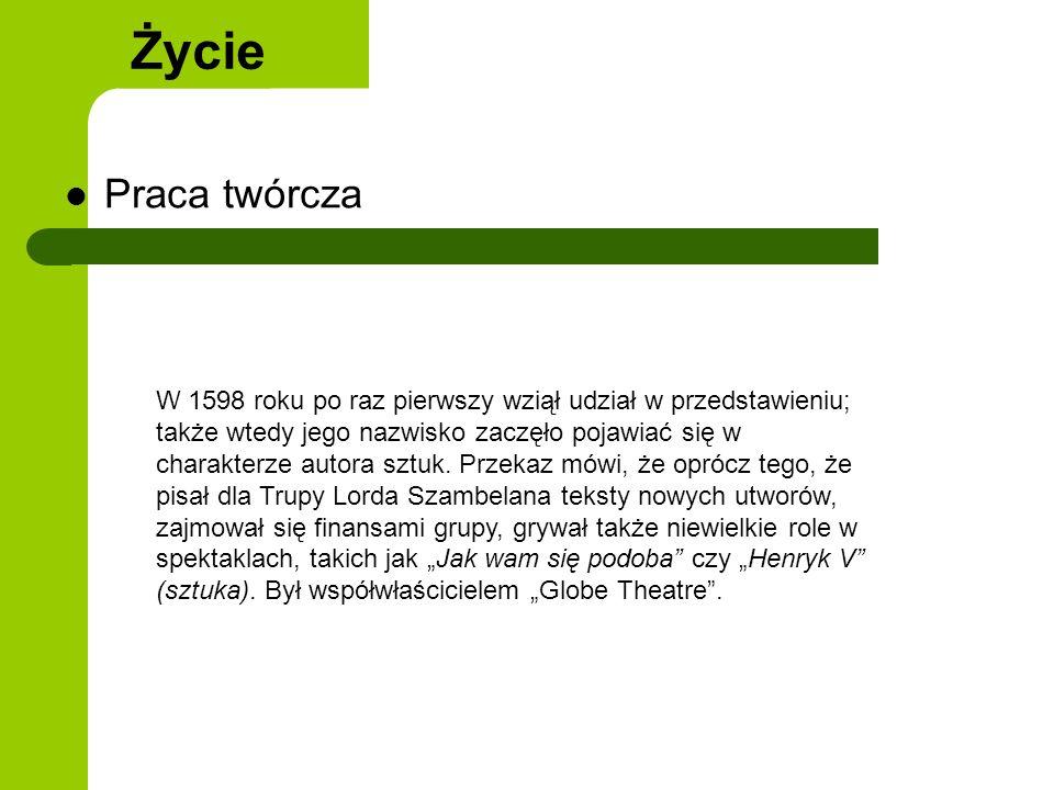 Teatr elżbietański Twórczość Teatr elżbietański - za jego umowną datę narodzin przyjmuje się rok 1576.