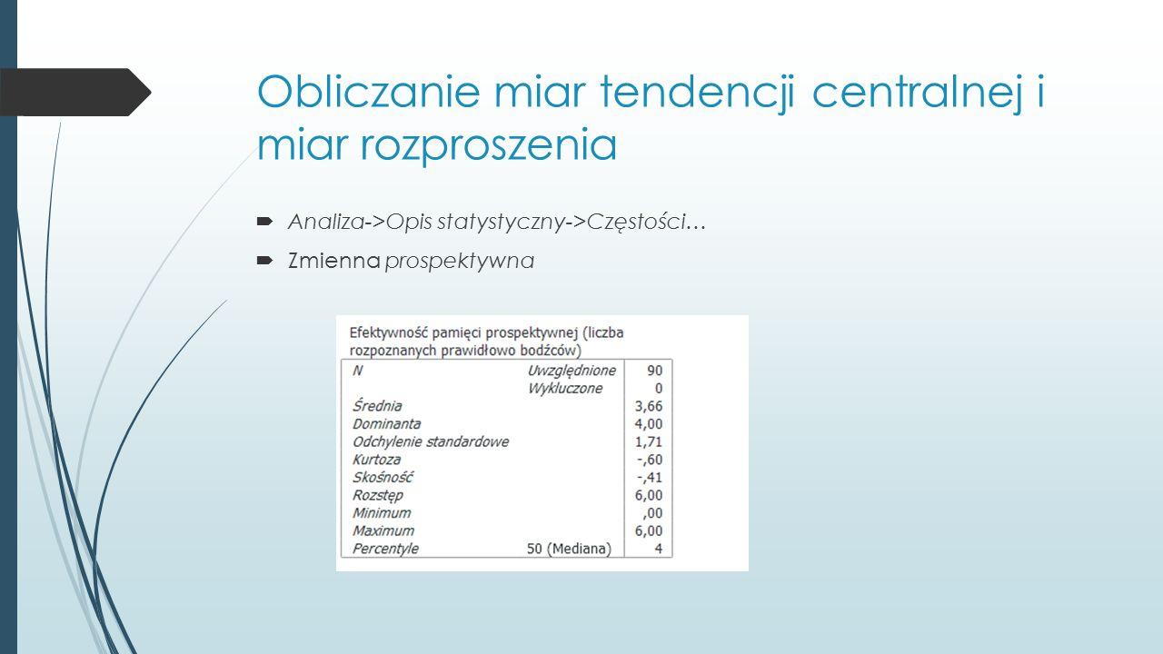 Obliczanie miar tendencji centralnej i miar rozproszenia  Analiza->Opis statystyczny->Częstości…  Zmienna prospektywna