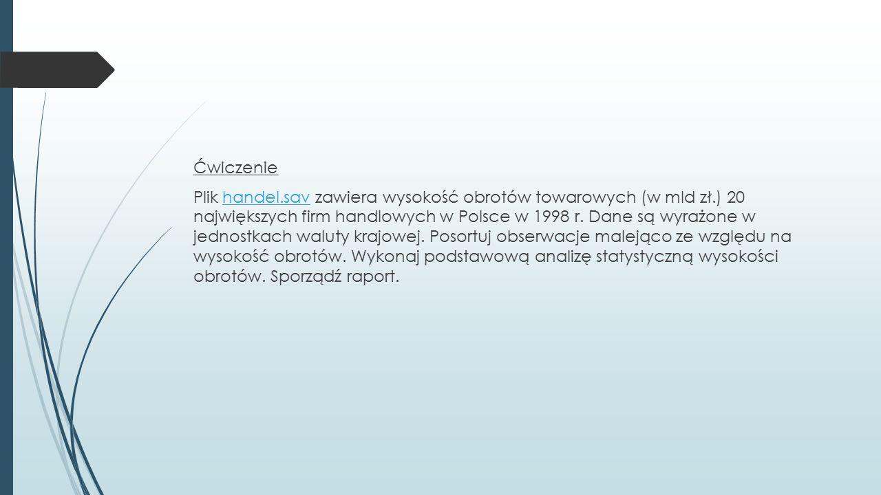 Ćwiczenie Plik handel.sav zawiera wysokość obrotów towarowych (w mld zł.) 20 największych firm handlowych w Polsce w 1998 r.