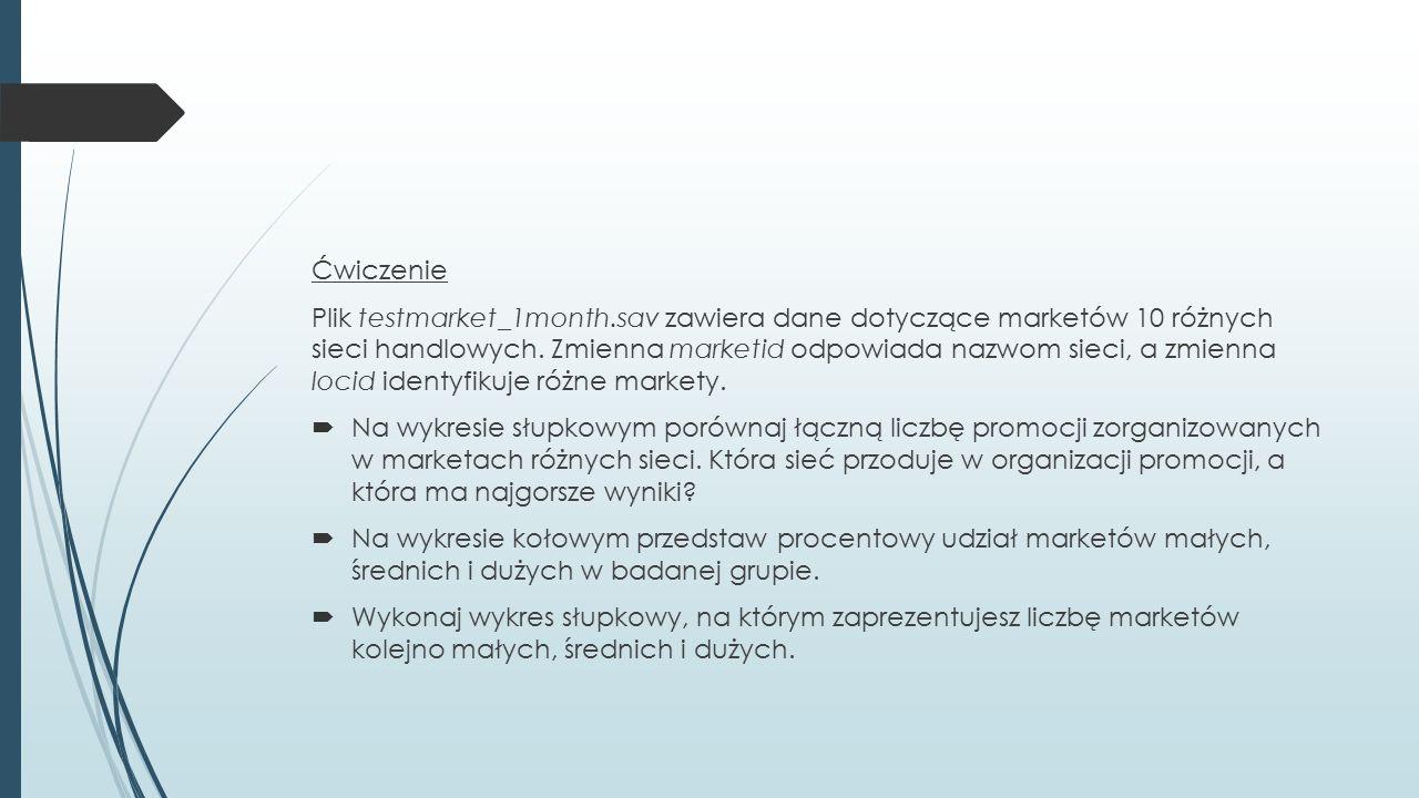 Plik testmarket_1month.sav zawiera dane dotyczące marketów 10 różnych sieci handlowych.