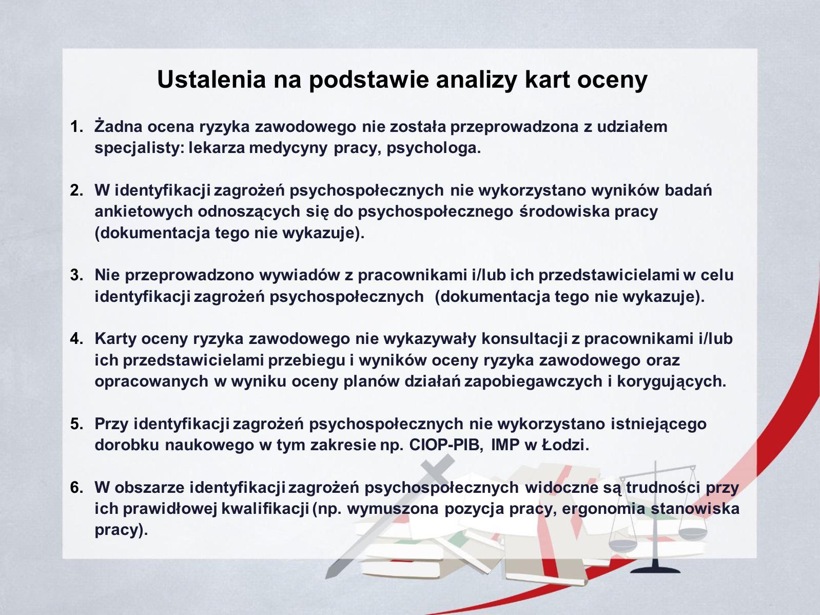 Ustalenia na podstawie analizy kart oceny 1.