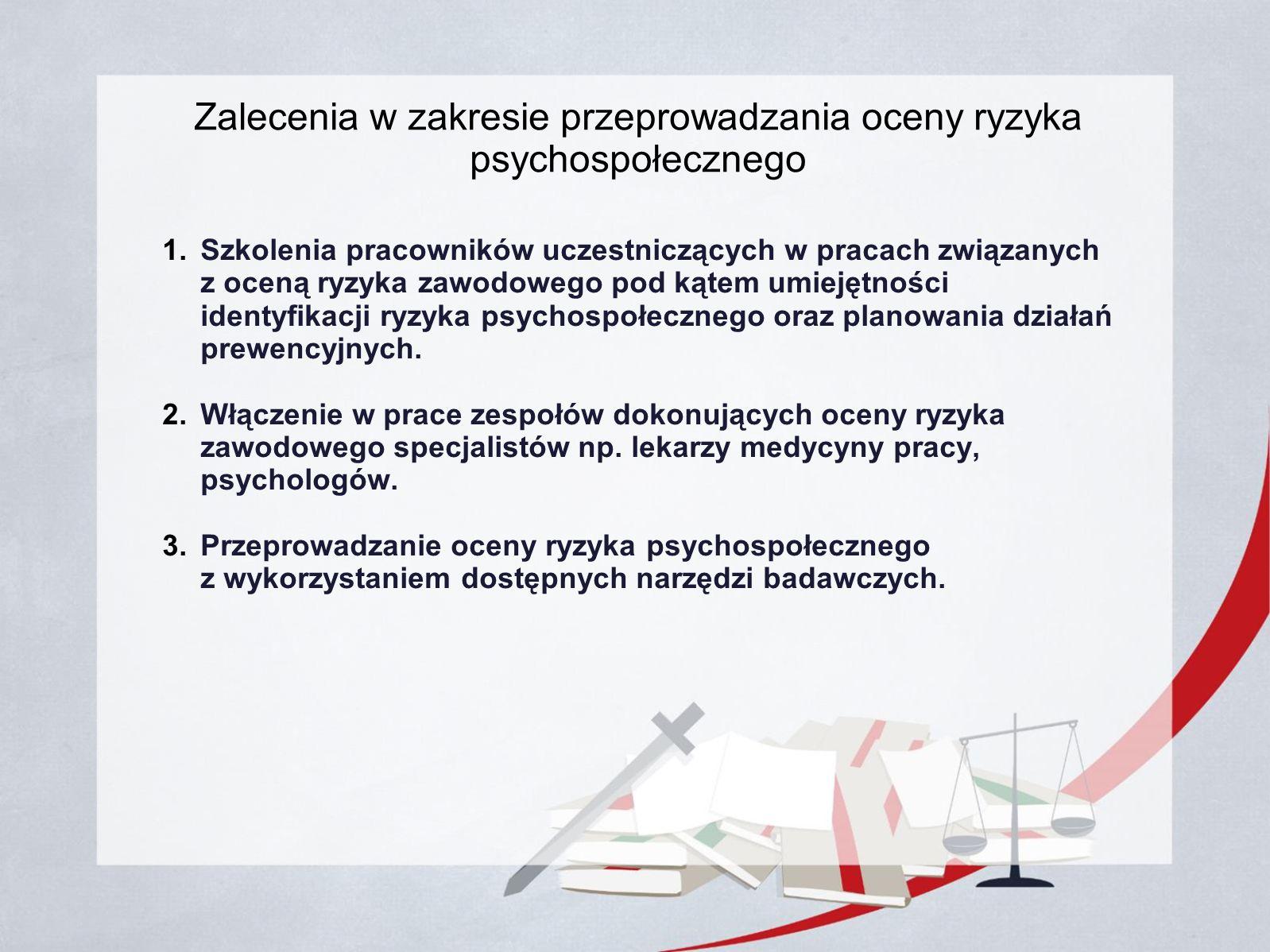 Zalecenia w zakresie przeprowadzania oceny ryzyka psychospołecznego 1.