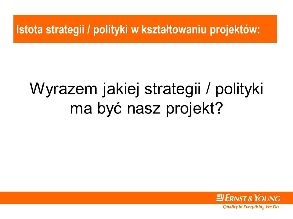Istota strategii / polityki w kształtowaniu projektów: Wyrazem jakiej strategii / polityki ma być nasz projekt?