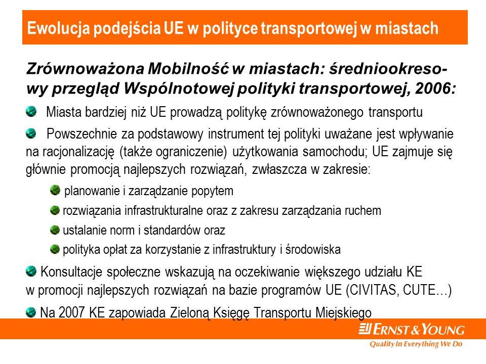 Ewolucja podejścia UE w polityce transportowej w miastach Zrównoważona Mobilność w miastach: średniookreso- wy przegląd Wspólnotowej polityki transportowej, 2006: Miasta bardziej niż UE prowadzą politykę zrównoważonego transportu Powszechnie za podstawowy instrument tej polityki uważane jest wpływanie na racjonalizację (także ograniczenie) użytkowania samochodu; UE zajmuje się głównie promocją najlepszych rozwiązań, zwłaszcza w zakresie: planowanie i zarządzanie popytem rozwiązania infrastrukturalne oraz z zakresu zarządzania ruchem ustalanie norm i standardów oraz polityka opłat za korzystanie z infrastruktury i środowiska Konsultacje społeczne wskazują na oczekiwanie większego udziału KE w promocji najlepszych rozwiązań na bazie programów UE (CIVITAS, CUTE…) Na 2007 KE zapowiada Zieloną Księgę Transportu Miejskiego
