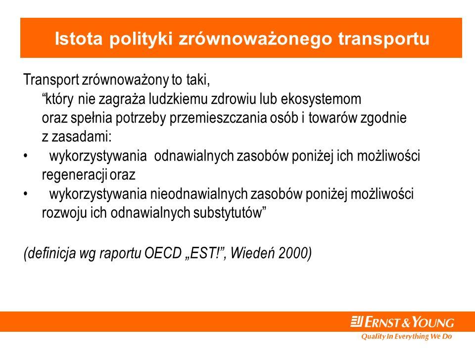 """Istota polityki zrównoważonego transportu Transport zrównoważony to taki, który nie zagraża ludzkiemu zdrowiu lub ekosystemom oraz spełnia potrzeby przemieszczania osób i towarów zgodnie z zasadami: wykorzystywania odnawialnych zasobów poniżej ich możliwości regeneracji oraz wykorzystywania nieodnawialnych zasobów poniżej możliwości rozwoju ich odnawialnych substytutów (definicja wg raportu OECD """"EST! , Wiedeń 2000)"""