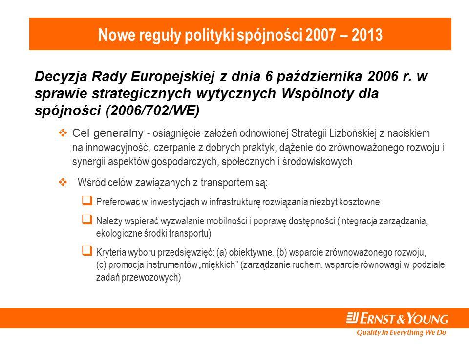 Nowe reguły polityki spójności 2007 – 2013 Decyzja Rady Europejskiej z dnia 6 października 2006 r.