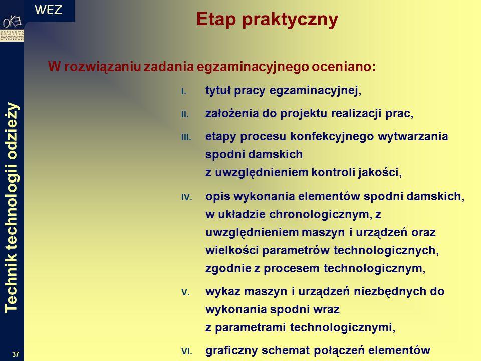 WEZ 37 W rozwiązaniu zadania egzaminacyjnego oceniano: I.