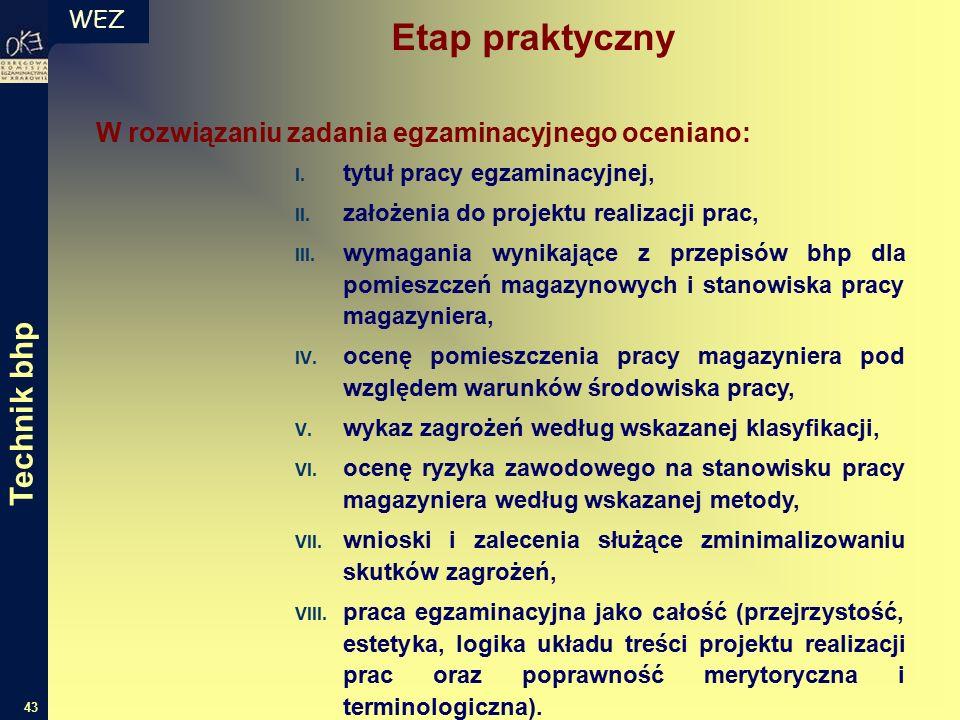 WEZ 43 W rozwiązaniu zadania egzaminacyjnego oceniano: I.