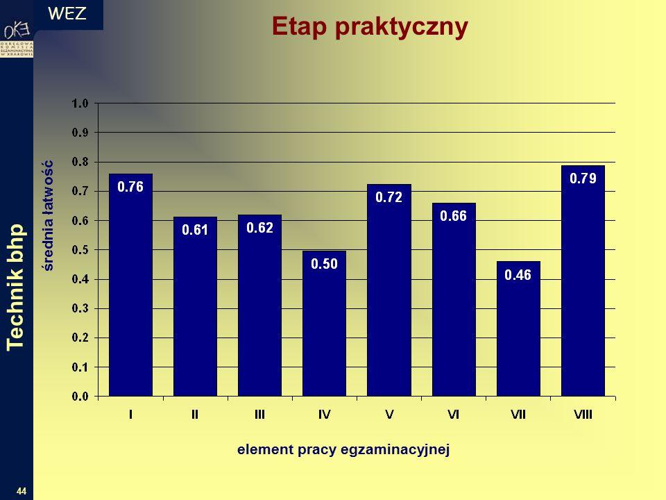 WEZ 44 średnia łatwość element pracy egzaminacyjnej Etap praktyczny Technik bhp