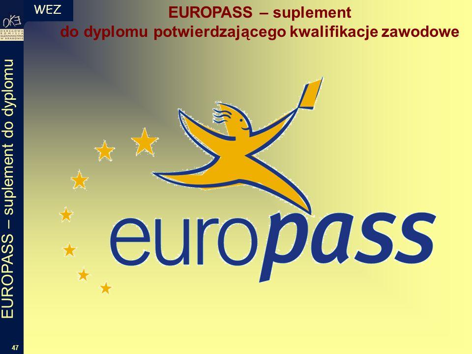 WEZ 47 EUROPASS – suplement do dyplomu EUROPASS – suplement do dyplomu potwierdzającego kwalifikacje zawodowe