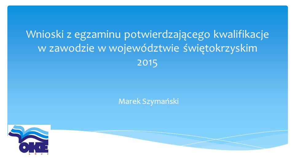 Wnioski z egzaminu potwierdzającego kwalifikacje w zawodzie w województwie świętokrzyskim 2015 Marek Szymański