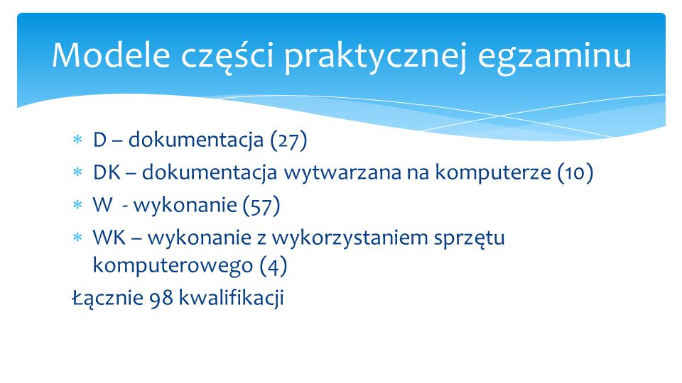  D – dokumentacja (27)  DK – dokumentacja wytwarzana na komputerze (10)  W - wykonanie (57)  WK – wykonanie z wykorzystaniem sprzętu komputerowego (4) Łącznie 98 kwalifikacji Modele części praktycznej egzaminu