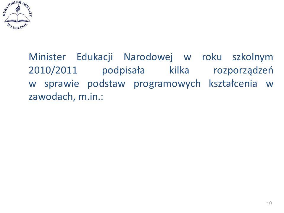 Minister Edukacji Narodowej w roku szkolnym 2010/2011 podpisała kilka rozporządzeń w sprawie podstaw programowych kształcenia w zawodach, m.in.: 10