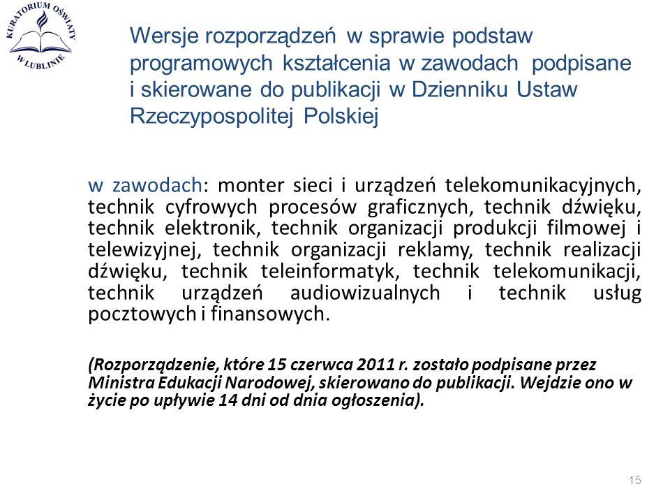 Wersje rozporządzeń w sprawie podstaw programowych kształcenia w zawodach podpisane i skierowane do publikacji w Dzienniku Ustaw Rzeczypospolitej Pols