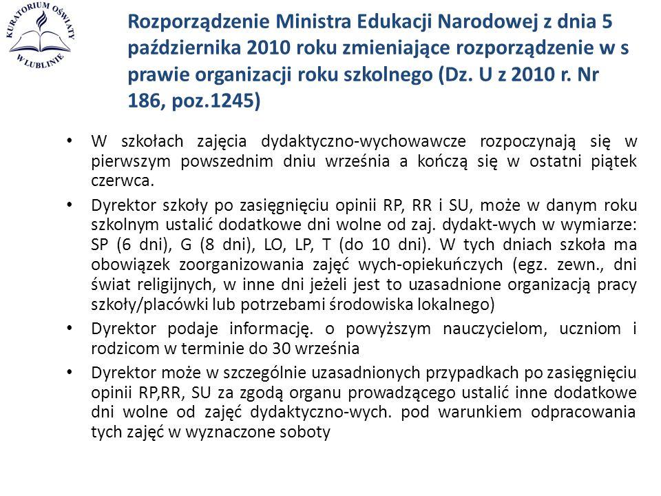 Rozporządzenie Ministra Edukacji Narodowej z dnia 5 października 2010 roku zmieniające rozporządzenie w s prawie organizacji roku szkolnego (Dz. U z 2